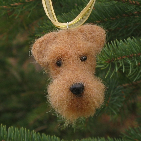 needle felted airedale terrier dog christmas tree ornament
