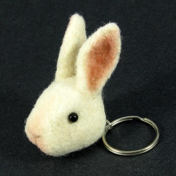 Bunny Rabbit Keychain - Needle Felted Rabbit Key Chain Fob
