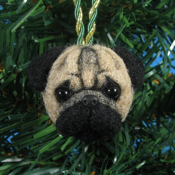 Pug Ornament - Needle Felted Dog, Christmas Ornament, Felted Pug SALE