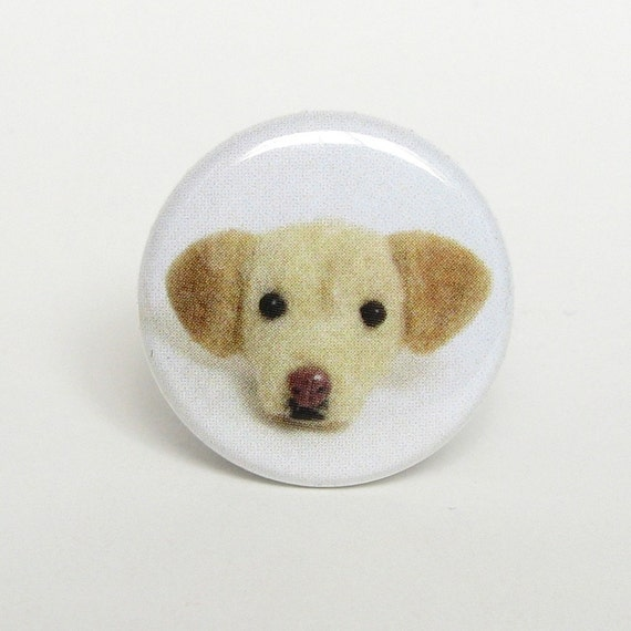 Needle Felted Yellow Lab Labrador Retriever Dog Pinback Button