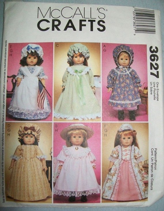 """McCalls 3627 Gowns Historical 18"""" Doll Clothes Pattern McCall's"""