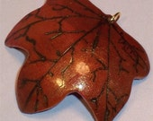 Gourd Art Pendant, Maple Leaf, Shipping Included