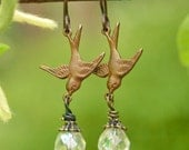 Songbird Earrings in Clear - Dainty Brass Swallows and Czech Glass on Hypoallergenic Niobium
