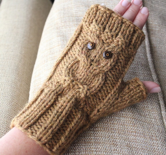 Knitting Pattern Ribbed Fingerless Gloves : Items similar to Owl Cable Fingerless Knit Gloves - Surly ...