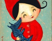 ORIGINAL CANVAS painting Little Red Riding Hood and baby Wolf by tascha