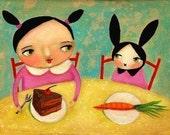 KAWAII art bunny rabbit cake time nursery room wall art print of painting by tascha