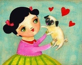 I LOVE my PUG dog cute PRINT from painting by tascha