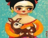 FRIDA kahlo with DEER cute PRINT from original painting by tascha