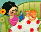FRIDA KAHLO orange cat PRINT poster from painting by tascha 5x7 storybook time