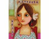 VIRGINIA WOOLF original painting on wood mixed media collage original art by tascha