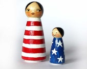 STARS and STRIPES usa flag wooden peg doll MAMA and baby by tascha