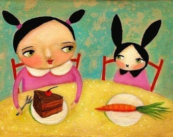 Bunny Rabbit print cute nursery room baby girl decor bunny with carrot and girl with cake Kawaii folk art PRINT of painting by Tascha