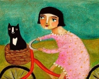 Bike bicycle ride to vet office tuxedo black cat in basket PRINT of painting by tascha