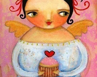 CUPCAKE fairy angel FOLK art PRINT poster from painting by tascha