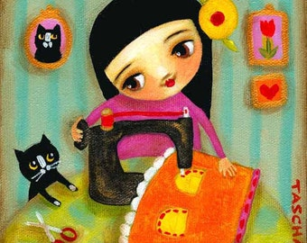 Little sewing girl seamstress with tuxedo cat folk art PRINT of original painting by tascha