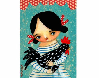 PRINT of ROOSTER farm girl spotted hen poster PRINT of original painting by tascha