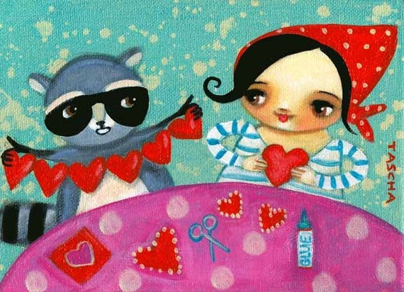 RACCOON makes Valentines with BABUSHKA cute PRINT from original tascha painting
