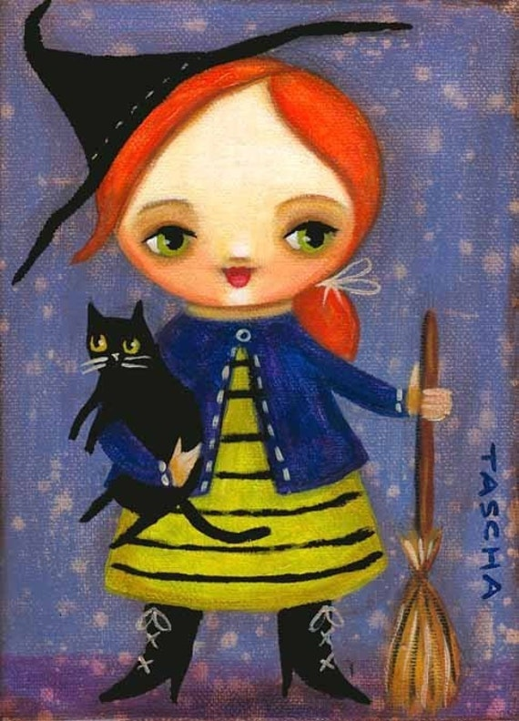 HALLOWEEN redhead witch black cat PRINT from painting by tascha