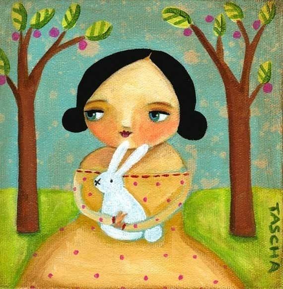 Bunny Forest PRINT of original folk art painting by Tascha 6x6