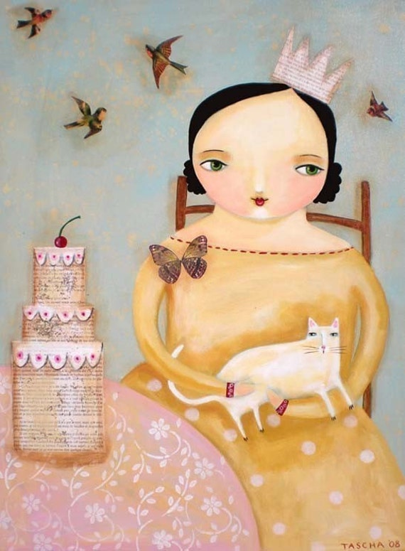 CAKE party with white cat PRINT from collage folk art painting by TASCHA 5x7