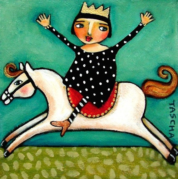 Look Ma NO HANDS 6x6 horse riding PRINT from painting by Tascha