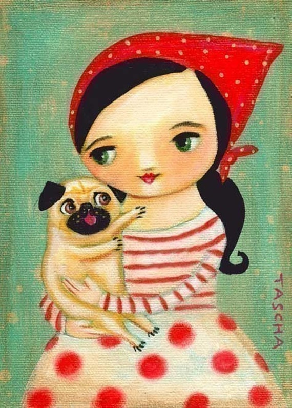 Babushka and PUG dog happy PRINT made from tascha painting 7x5