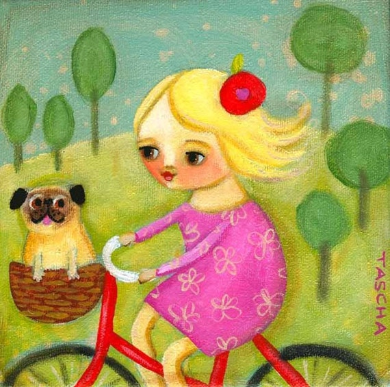 Bicycle ride with PUG dog PRINT of original painting by tascha