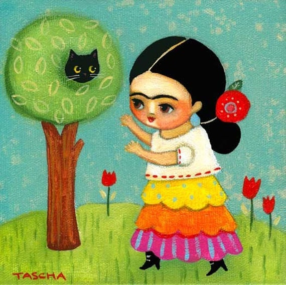FRIDA kahlo rescues cat from tree PRINT from original painting by tascha