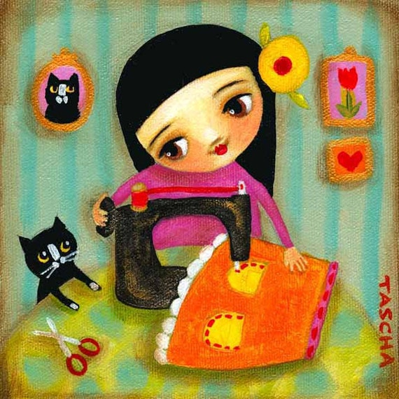 sewing girl seamstress with tuxedo cat PRINT of original painting by tascha