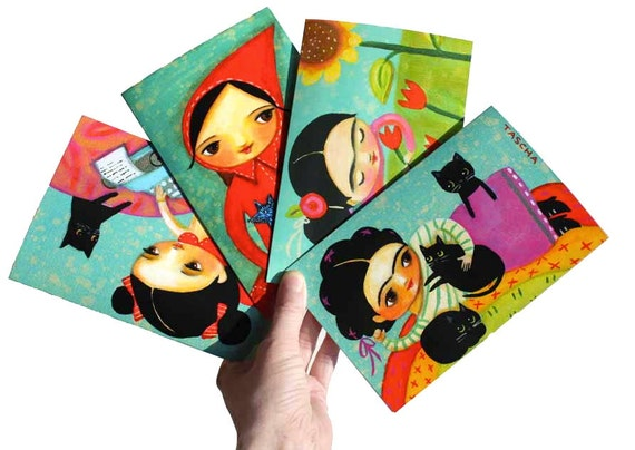 ASSORTED 4 pack greeting CARDS set FRIDA cats wolves blank with matching envelopes