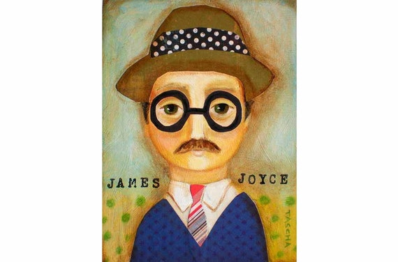 ORIGINAL portrait painting JAMES JOYCE author series collage mixed media art by tascha