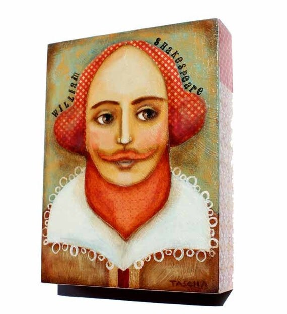 ORIGINAL art  painting William Shakespeare AUTHOR SERIES one of a kind painting on wood by tascha