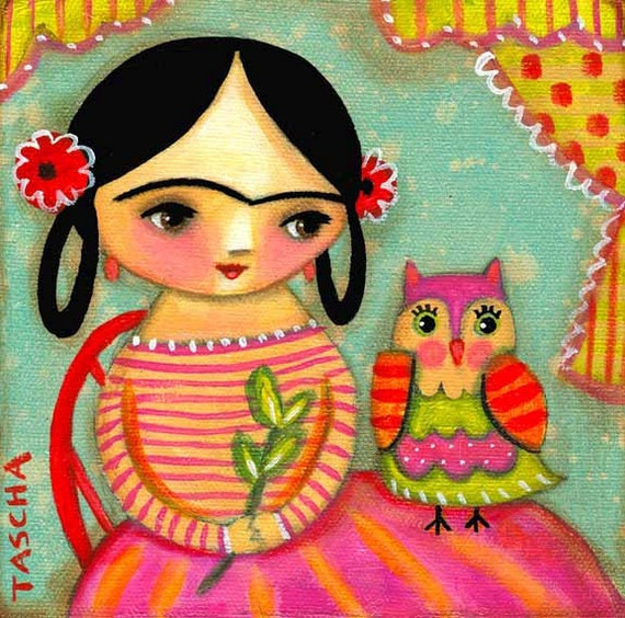 FRIDA KAHLO with OWL cute colorful print of folk art painting by tascha
