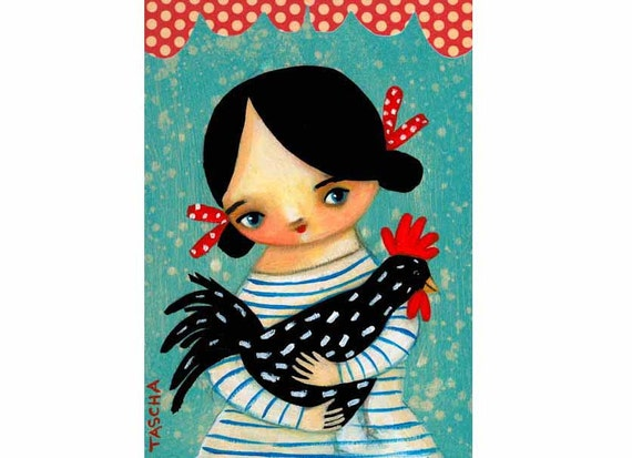 ROOSTER farm girl spotted hen PRINT of original painting by tascha