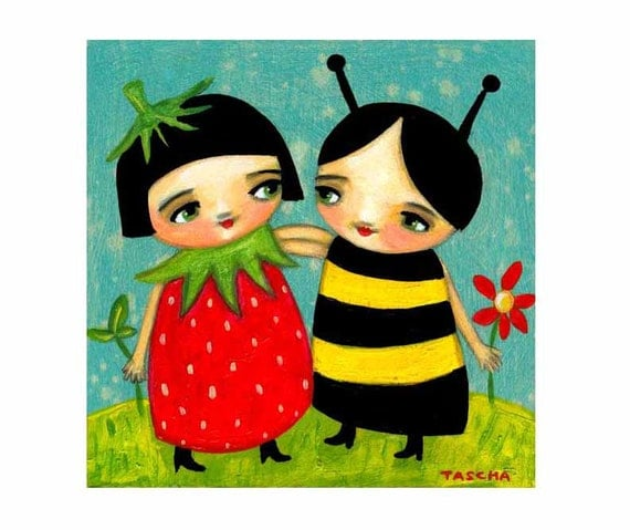 ORIGINAL strawberry girl and bumble bee girl friends PAINTING on wood by tascha