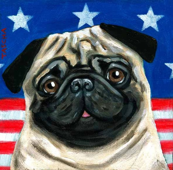 PATRIOTIC PUG dog ORIGINAL painting in acrylic on wood by tascha