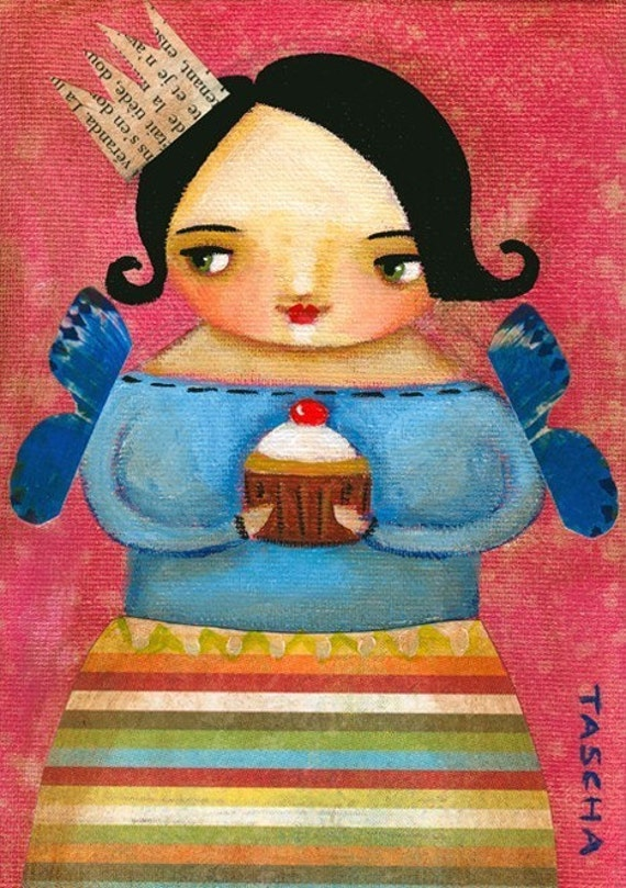 CUPCAKE fairy print wall art poster of painting by tascha 5x7