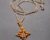 Amber River Lariat with Cross Pendant