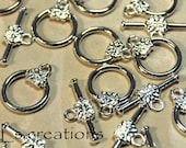 Toggle Clasp with Flower Silver-Plated Brass 14MM - 10 Sets