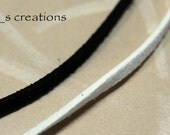 Faux Suede Leather Cording - Black and White - 3 yards each