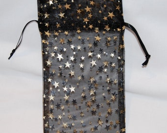 Black Organza Bags with Gold Stars/Medium 3x4/Set 12