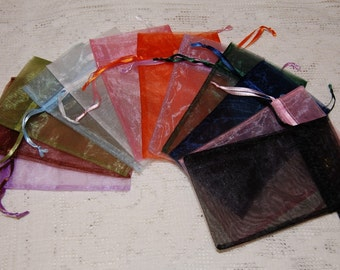 Organza Drawstring Bags/Mixed Colors/Large/5x4/Set of 12