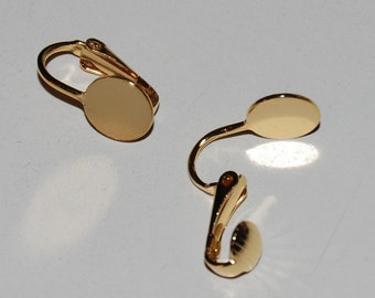 10 Pair/Clip On Earring Findings with 9mm Pad - Gold Plated