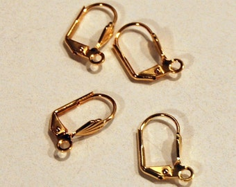 Leverback Earwire Pierced with 8x6mm Shell and Open Loop Gold Plated Brass 10 Pair