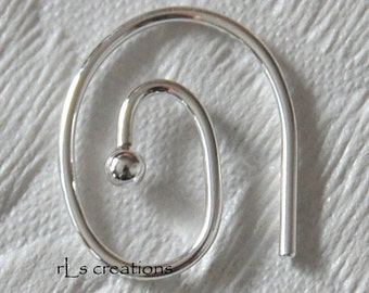 5 Pair - Swirled Earwires Pierced With 2mm Ball