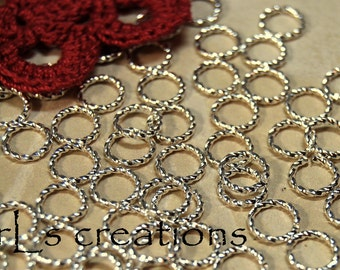 Jumprings 8MM 16GA Fancy Twisted Silver Plated
