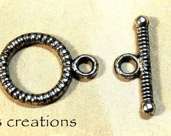 Toggle Clasp Antiqued Silver-Plated Pewter 10MM - 10 sets
