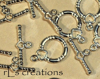 Toggle Clasp with Heart Silver-Plated Brass 14MM - 10 Sets