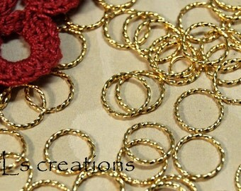 Jumprings 10MM 18GA Fancy Twisted Gold Plated