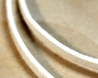 Faux Suede Leather Cording - White - 3 yards